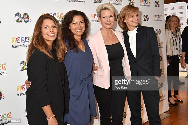 TV journalists /presenters Myriam Seurat Anais Bedaymir Nathalie Rihouet and Valerie Maurice attend France Television presents its programs 20162017...