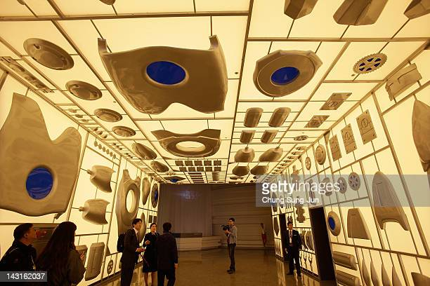 Journalists visit at Marine Robot pavilion a venue of the 2012 Yeosu Expo on April 20 2012 in Yeosu South Korea More than 105 countries 10...