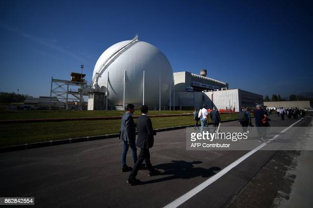 Journalists visit the Garigliano Nuclear Power Plant located at the outskirts of Sessa Aurunca 160km southern Rome on October 17 2017 The French...