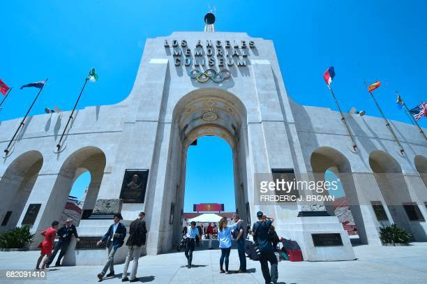 Journalists visit the Los Angeles Memorial Coliseum as the IOC Evaluation Commission continues with its visit to Los Angeles California on May 11...
