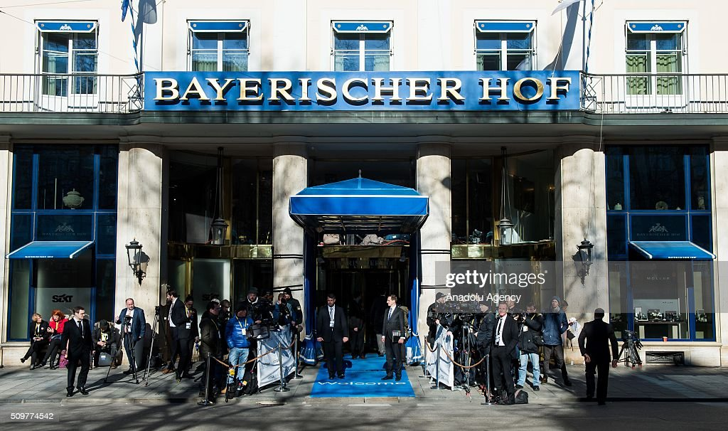 Journalists wait in front of the 'Bayerische Hof' Hotel which hosts the 52nd Security Conference in Munich, Germany on February 12, 2016. The conference on security policy takes place from February 12, 2016 until Feb. 14, 2016.