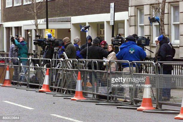 Journalists wait outside the King Edward VII Hospital for Officers in central London where Princess Margaret is receiving treatment The Princess the...