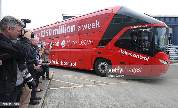 Journalists wait the arrival of Boris Johnson and the Vote Leave bus as he visits Reidsteel a Christchurch company backing the Leave Vote on the 23rd...