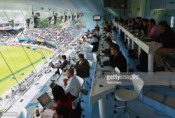 Journalists work in the media centre during the ICC World Twenty20 Group D match between New Zealand and South Africa at Lord's on June 9 2009 in...