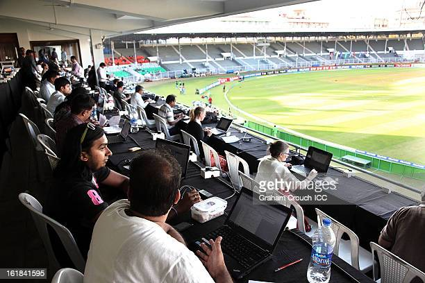 Journalists working in the press tribune during the final between Australia and West Indies of the Women's World Cup India 2013 played at the Cricket...