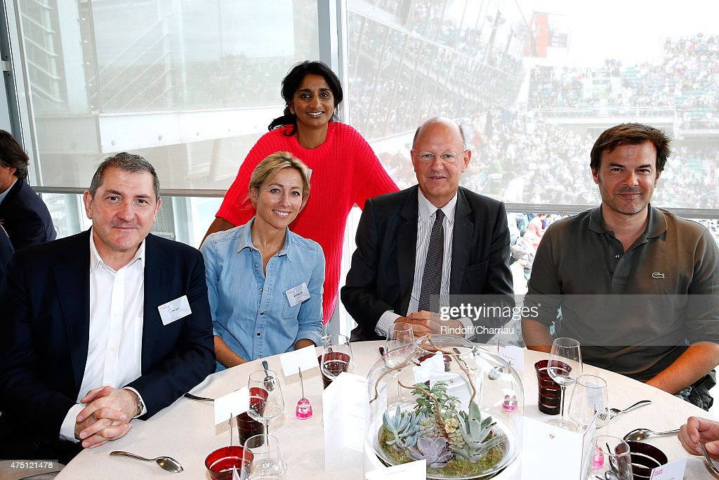Journalists Yves Calvi, Anne-Sophie Lapix, Patricia Loison, President of France Television Remy Pflimlin and Director Francois Ozon attend the 2015 Roland Garros French Tennis Open - Day Six, on May 29, 2015 in Paris, France.