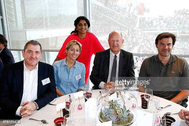 Journalists Yves Calvi AnneSophie Lapix Patricia Loison President of France Television Remy Pflimlin and Director Francois Ozon attend the 2015...