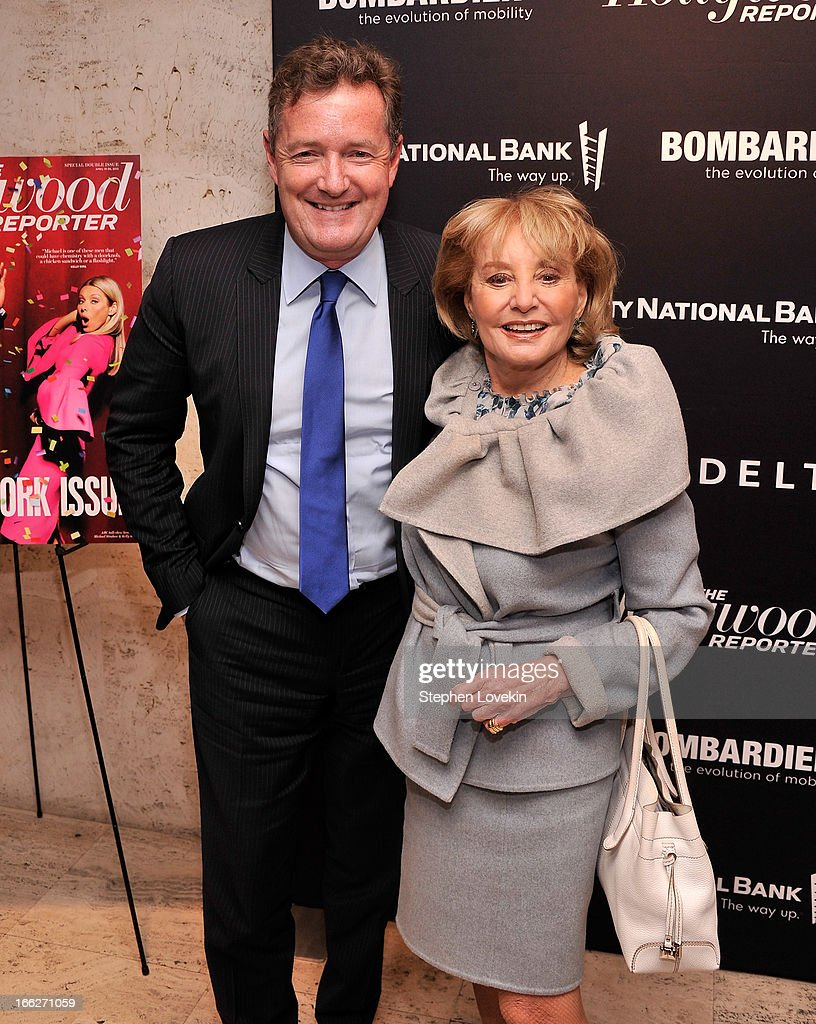Journalists/TV personalities Piers Morgan and Barbara Walters attend The Hollywood Reporters 35 Most Powerful People In Media at Four Seasons Grill Room on April 10, 2013 in New York City.
