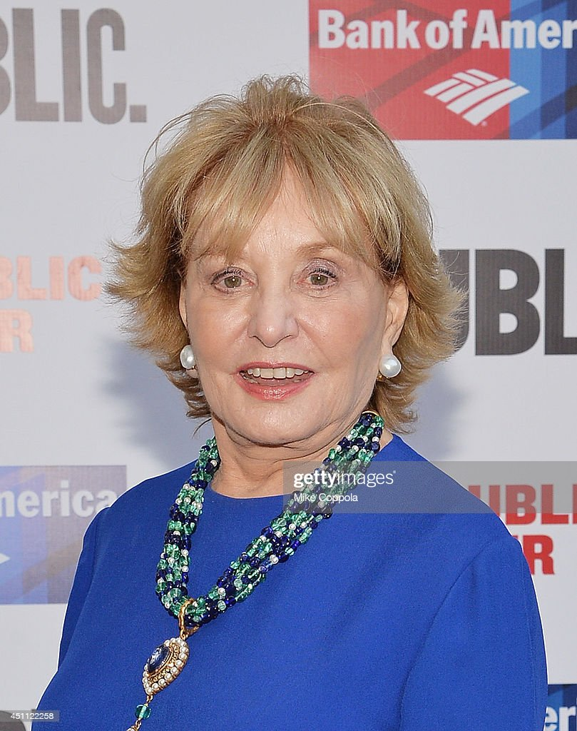 Journalist/Television personality <a gi-track='captionPersonalityLinkClicked' href=/galleries/search?phrase=Barbara+Walters&family=editorial&specificpeople=201871 ng-click='$event.stopPropagation()'>Barbara Walters</a> attends the Public Theater's 2014 Gala celebrating 'One Thrilling Combination' on June 23, 2014 in New York, United States.