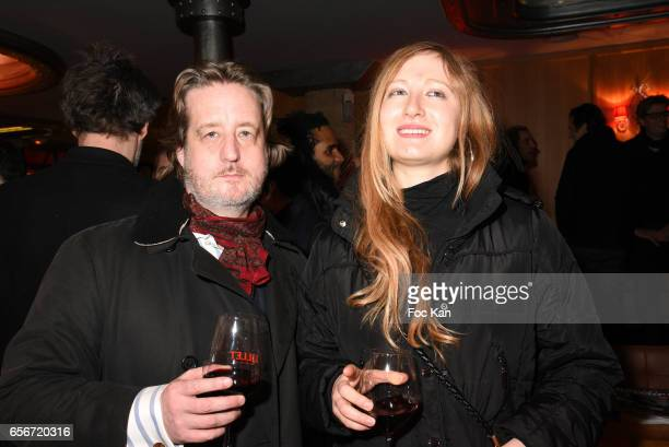 Journalist/writer Tristan Ranx and Roma Na from Technikart attend 'Apero Mecs A Legumes' Party Hosted by Grand Seigneur Magazine at the Bistrot...