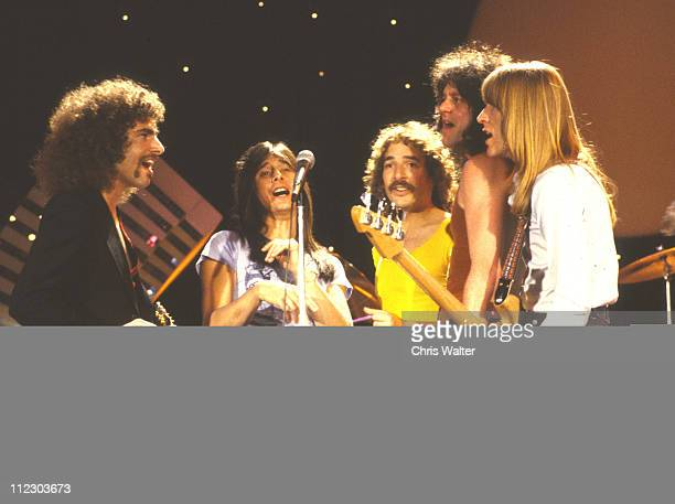 Journey 1979 on 'Midnight Special' lr Neal Schon Steve Perry Steve Smith Gregg Rolie Ross Valory