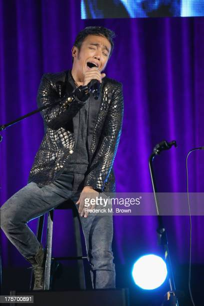Journey band member lead vocalist Arnel Pineda performs onstage during the 'Don't Stop Believin' Everyman's Journey' panel at the PBS portion of the...