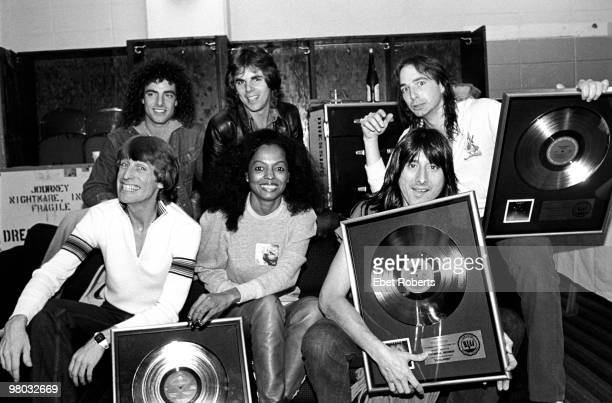 Journey with Diana Ross backstage at the Nassau Colliseum LR Neal Schon Jonathan Cain Steve Smith Ross Valory Diana Ross and Steve Perry on October...