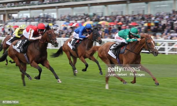 Jousi ridden by Josephine Gordon wins The John Guest British EBF Fillies' Novice Stakes Race during day one of King George VI Weekend at Ascot...