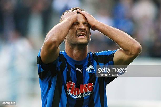 Jovan Damjanovic of Paderborn looks dejected during the Second Bundesliga Play Off match between SC Paderborn and VfL Osnabrueck at the Paragon Arena...