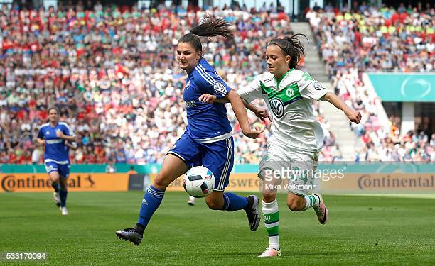 Jovana Damnjanovic of Sand challenges Joelle Wedemeyer of Wolfsburg during the women's cup final between SC Sand and VFL Wolfsburg at...