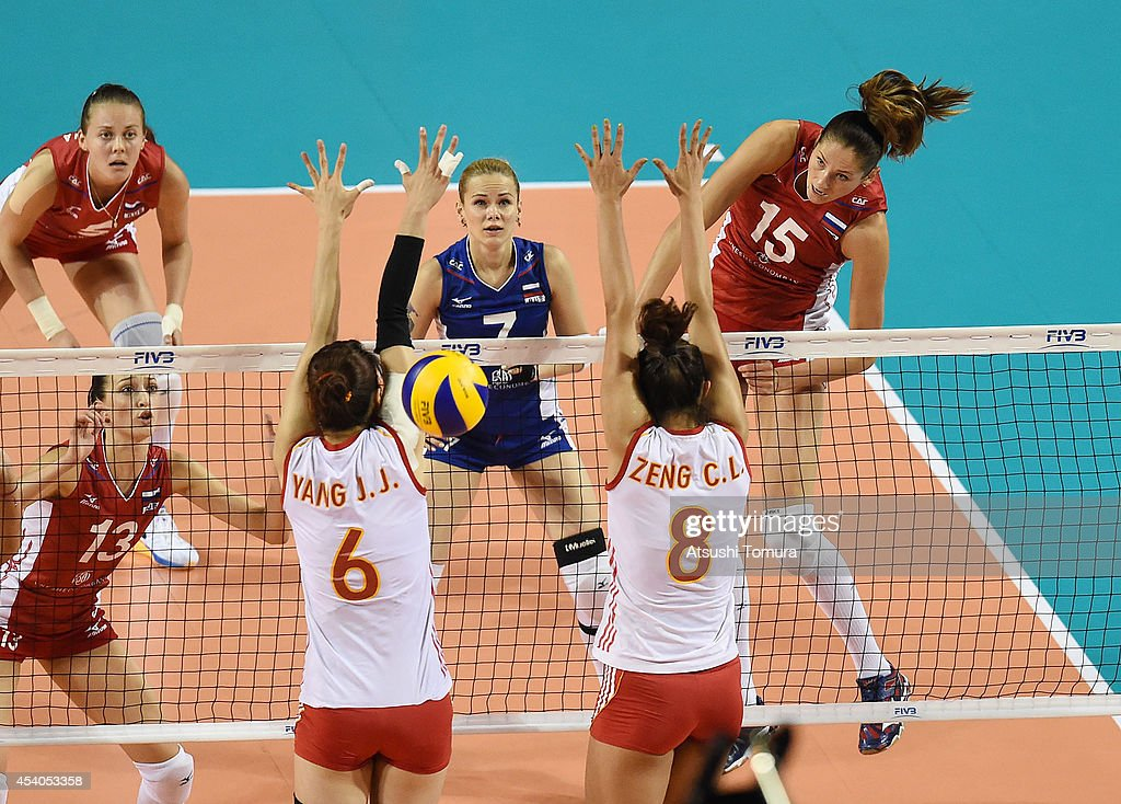 Jovana Stevanovic of Russia spikes the ball during the FIVB World Grand Prix Final group one match between Russia and China on August 24, 2014 in Tokyo, Japan.