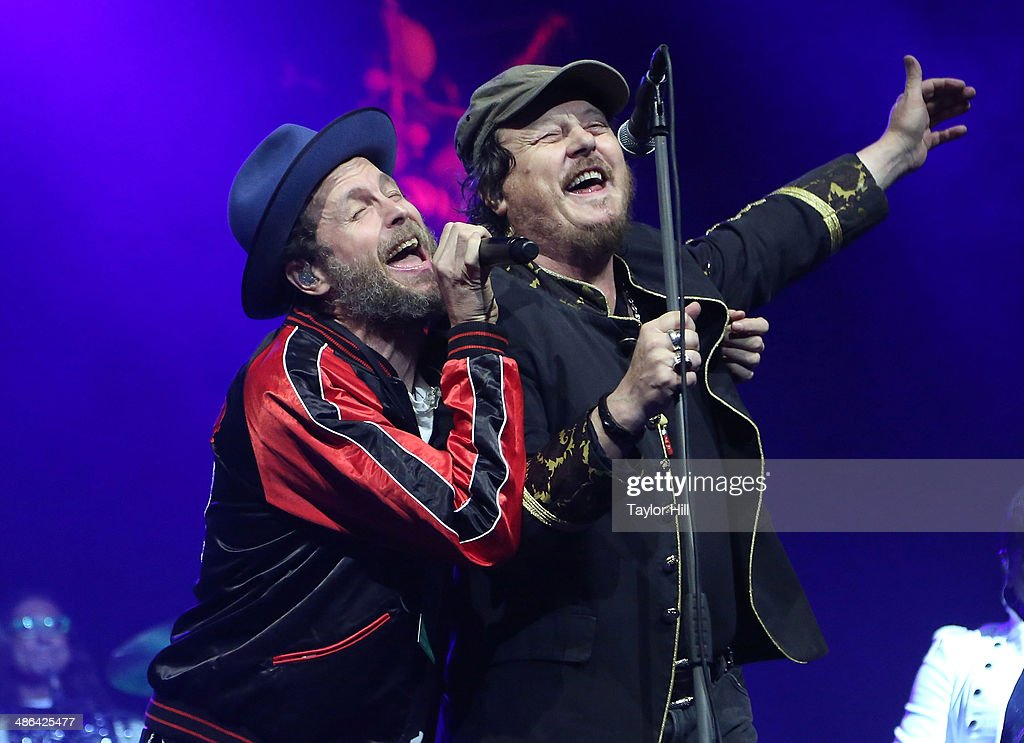 Jovanotti and <a gi-track='captionPersonalityLinkClicked' href=/galleries/search?phrase=Zucchero&family=editorial&specificpeople=172016 ng-click='$event.stopPropagation()'>Zucchero</a> perform at The Theater at Madison Square Garden on April 23, 2014 in New York City.