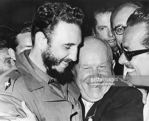 A jovial greeting takes place between Cuba's Prime MInister Fidel Castro and Soviet Union's Premier Nikita Khrushchev when they met at the United...