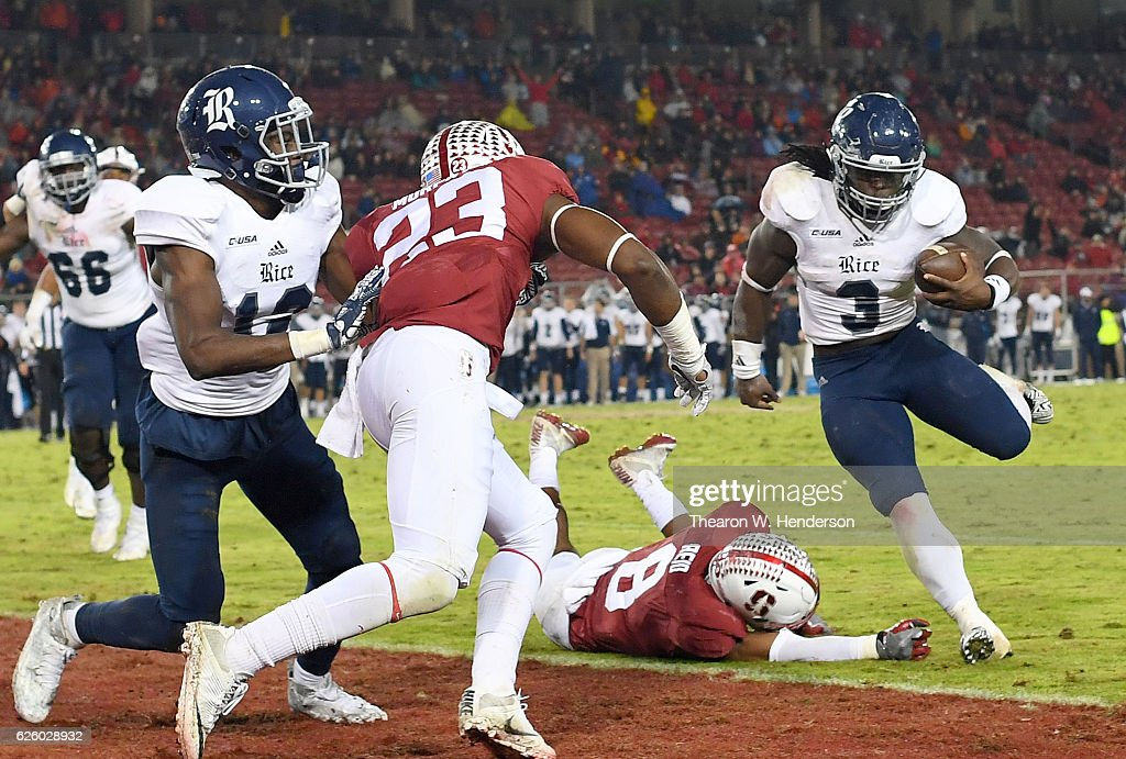 Jowan Davis #3 of the Rice Owls scores on a six yard touchdown run against the Stanford Cardinal in the third quarter of their NCAA football game at Stanford Stadium on November 26, 2016 in Palo Alto, California.