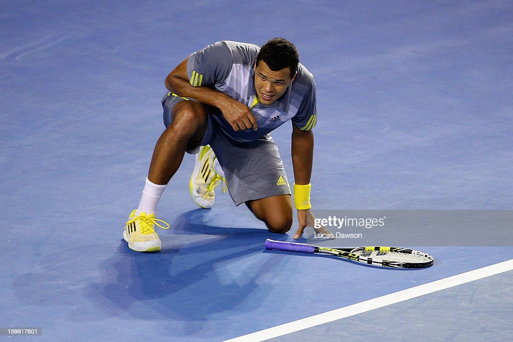 Jo-Wilfred Tsonga of France looks on in his Quarterfinal match against Roger Federer of Switzerland during day ten of the 2013 Australian Open at Melbourne Park on January 23, 2013 in Melbourne, Australia.
