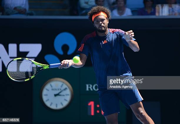 JoWilfred Tsonga of France plays a forehand in his third round match against Jack Sock of The United States of America on day five of the 2017...