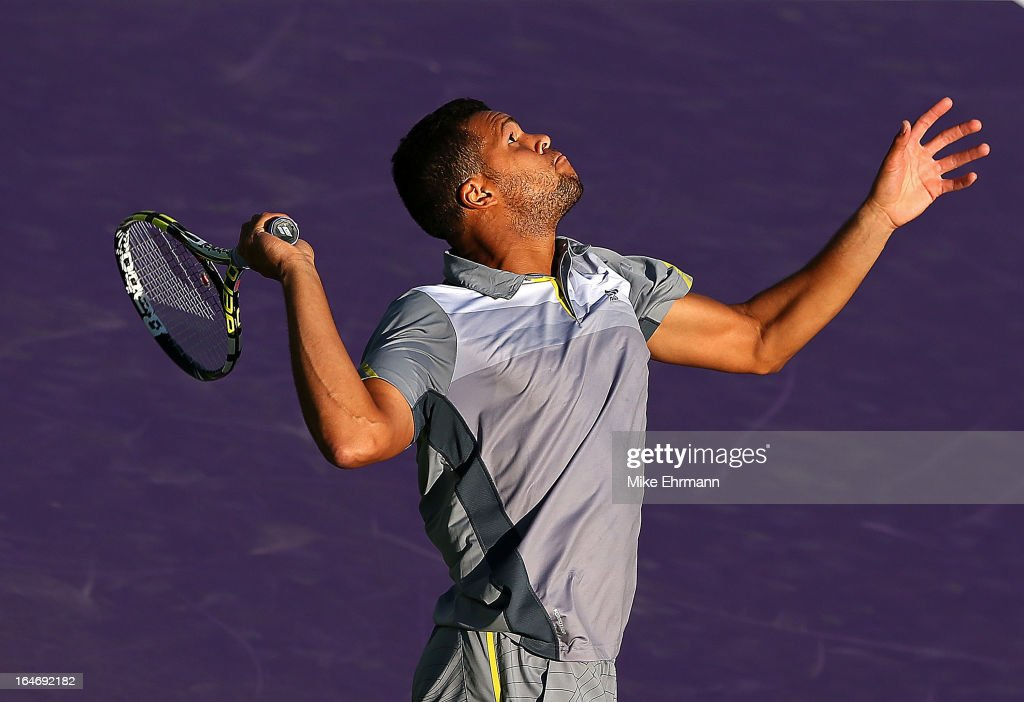 Jo-Wilfred Tsonga of France plays a match against Marin Cilic of Croatia during Day 9 of the Sony Open at Crandon Park Tennis Center on March 26, 2013 in Key Biscayne, Florida.
