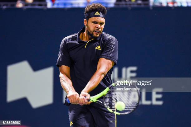 JoWilfred Tsonga returns the ball during his second round match at ATP Coupe Rogers on August 9 at Uniprix Stadium in Montreal QC