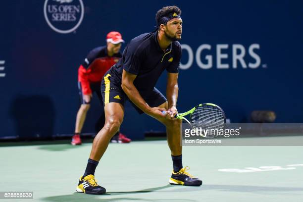 JoWilfred Tsonga waits for service during his second round match at ATP Coupe Rogers on August 9 at Uniprix Stadium in Montreal QC