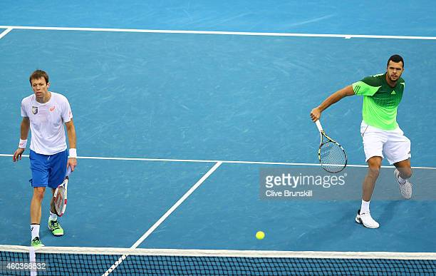 JoWilfried Tsonga and Daniel Nestor of the Manila Mavericks in action against Gael Monfils and Rohan Bopanna of the Indian Aces during the CocaCola...