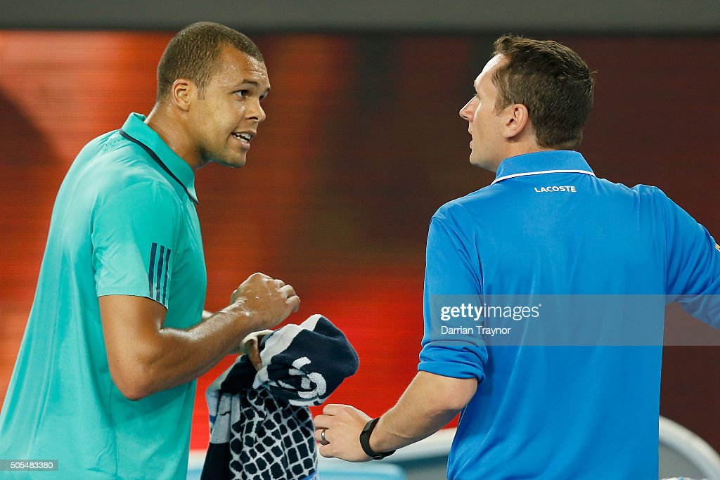JoWilfried Tsonga argues with the chair umpire in his first round match against Marcos Baghdatis of Cyprus during day one of the 2016 Australian Open...