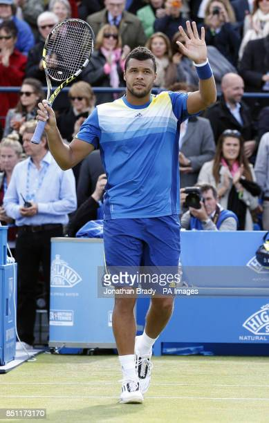 JoWilfried Tsonga celebrates his victory against Igor Sijsling at the AEGON Championships at The Queen's Club London
