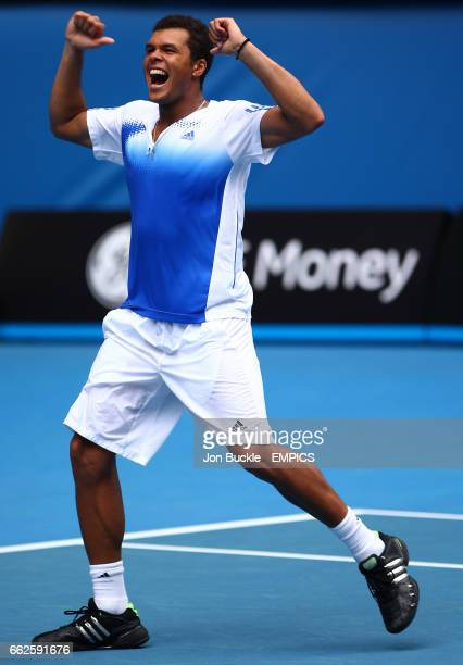 JoWilfried Tsonga celebrates his victory against Richard Gasquet on day seven of the Australian Open