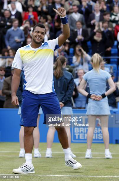 JoWilfried Tsonga celebrates victory in his match against Denis Kudla at the AEGON Championships at The Queen's Club London