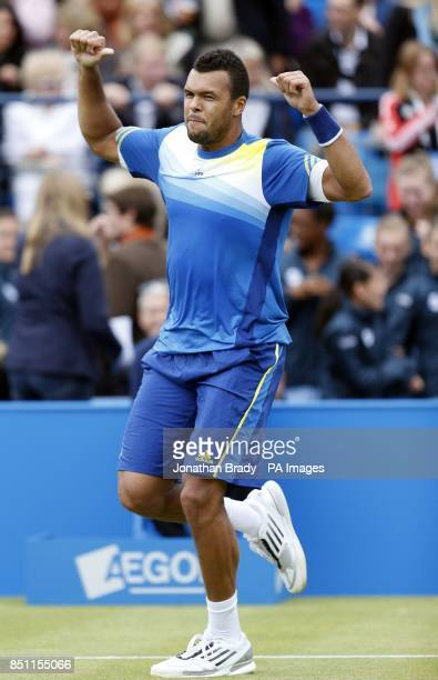 JoWilfried Tsonga celebrates victory over Edouard RogerVasselin at the AEGON Championships at The Queen's Club London