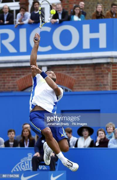 JoWilfried Tsonga during his match against Denis Kudla at the AEGON Championships at The Queen's Club London