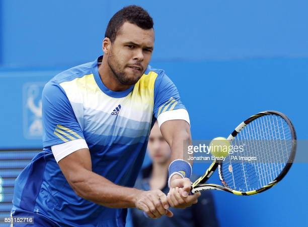 JoWilfried Tsonga during his match against Edouard RogerVasselin at the AEGON Championships at The Queen's Club London