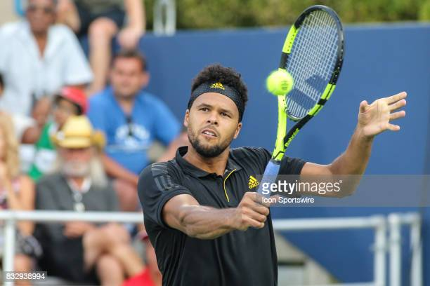 JoWilfried Tsonga hits a backhand during the Western Southern Open at the Lindner Family Tennis Center in Mason Ohio on August 15 2017