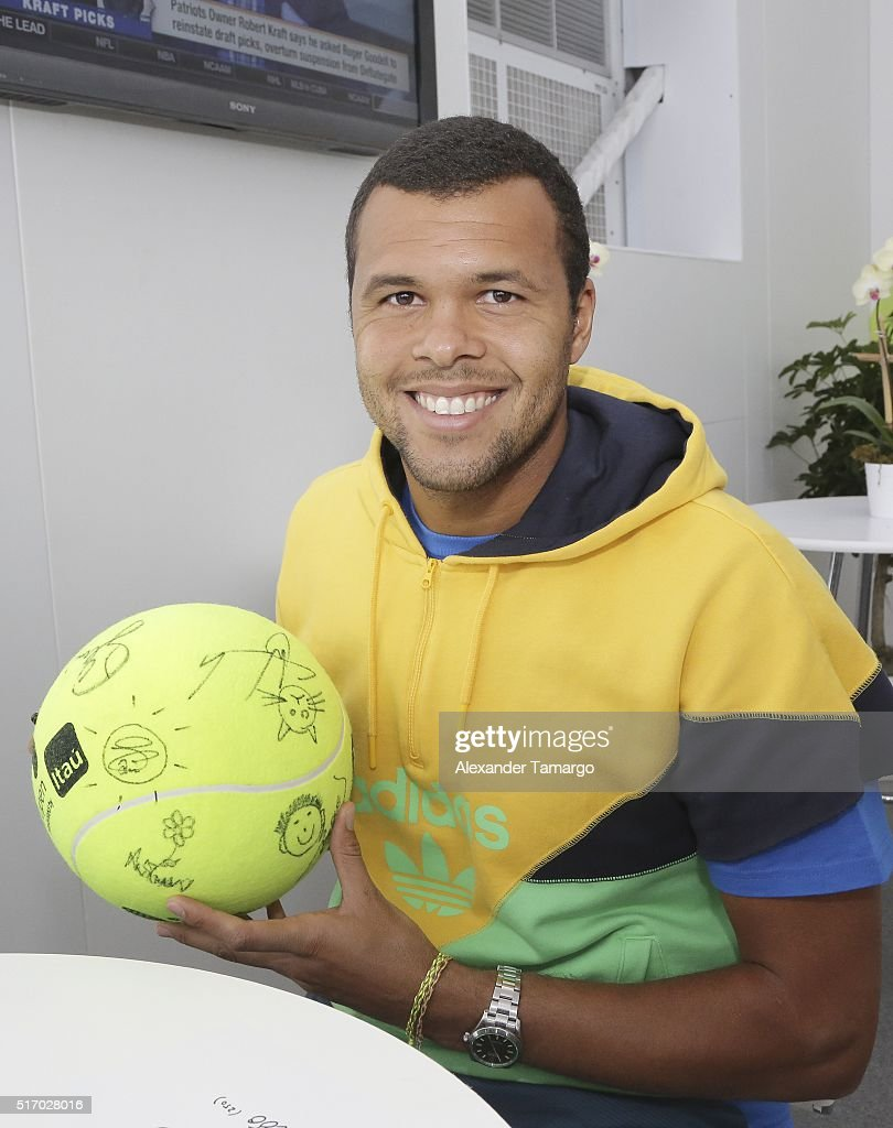 Jo-Wilfried Tsonga is seen during the Miami Open Media Day at Crandon Park Tennis Center on March 22, 2016 in Key Biscayne, Florida.
