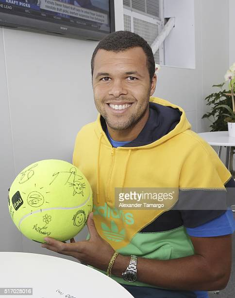 JoWilfried Tsonga is seen during the Miami Open Media Day at Crandon Park Tennis Center on March 22 2016 in Key Biscayne Florida