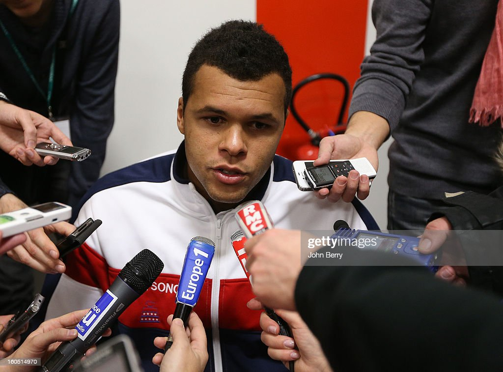 Jo-Wilfried Tsonga of France answers questions from the press on day one of the Davis Cup first round match between France and Israel at the Kindarena stadium on February 1, 2013 in Rouen, France.