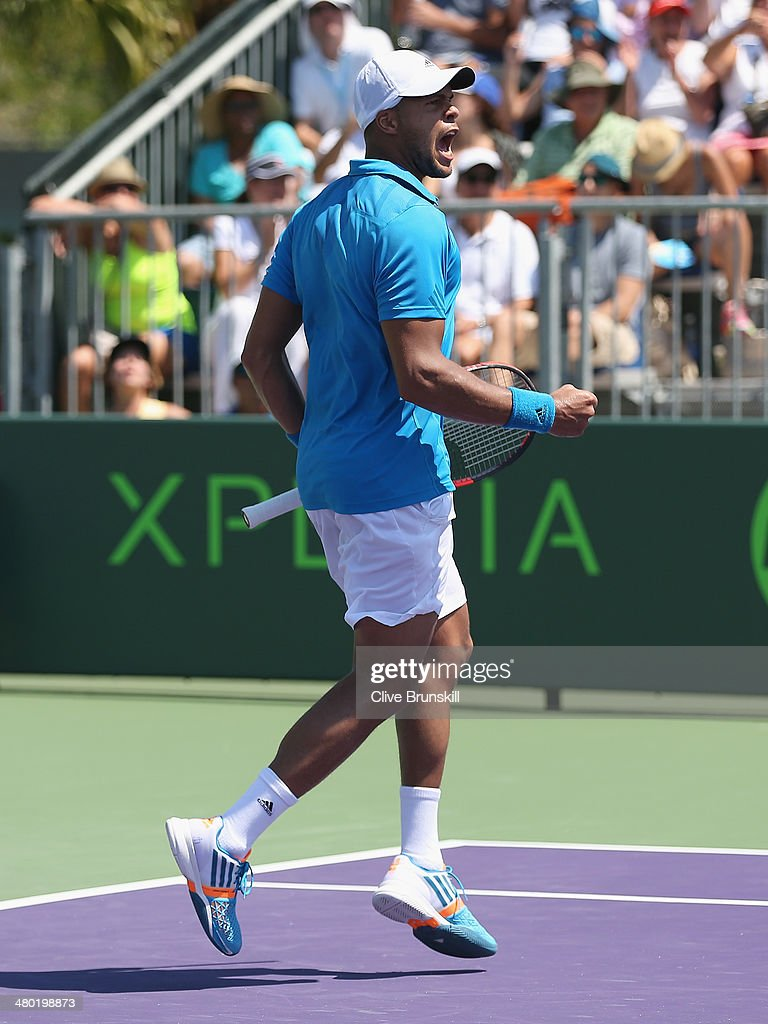 <a gi-track='captionPersonalityLinkClicked' href=/galleries/search?phrase=Jo-Wilfried+Tsonga&family=editorial&specificpeople=553803 ng-click='$event.stopPropagation()'>Jo-Wilfried Tsonga</a> of France celebrates a point against Marcos Baghdatis of Cyprus during their third round match during day 7 at the Sony Open at Crandon Park Tennis Center on March 23, 2014 in Key Biscayne, Florida.