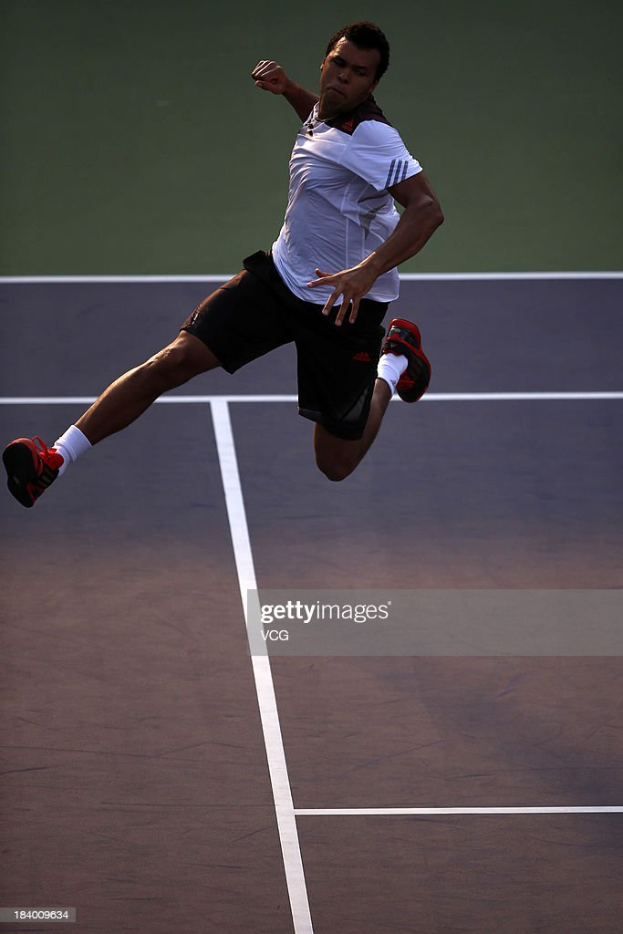<a gi-track='captionPersonalityLinkClicked' href=/galleries/search?phrase=Jo-Wilfried+Tsonga&family=editorial&specificpeople=553803 ng-click='$event.stopPropagation()'>Jo-Wilfried Tsonga</a> of France celebrates after defeating Kei Nishikori of Japan on day four of the Shanghai Rolex Masters at the Qi Zhong Tennis Center on October 10, 2013 in Shanghai, China.