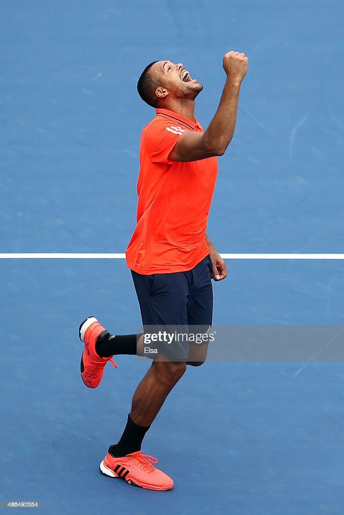 Jo-Wilfried Tsonga of France celebrates after defeating Sergiy Stakhovsky of the Ukraine during their Men's Singles Third Round match on Day Five of the 2015 US Open at the USTA Billie Jean King National Tennis Center on September 4, 2015 in the Flushing neighborhood of the Queens borough of New York City.