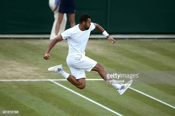 JoWilfried Tsonga of France celebrates after winning his Gentlemen's Singles third round match against Jimmy Wang of Chinese Taipei on day five of...