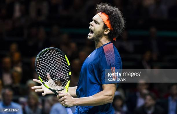 JoWilfried Tsonga of France celebrates during his final match of the ABN Amro World Tennis Tournament against David Goffin of Belgium in Rotterdam on...