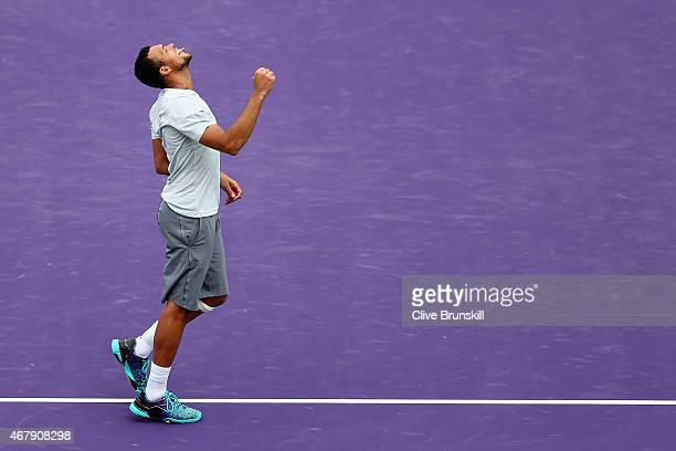 JoWilfried Tsonga of France celebrates his three set victory against Tim Smyczek of the United States during the Miami Open Presented by Itau at...