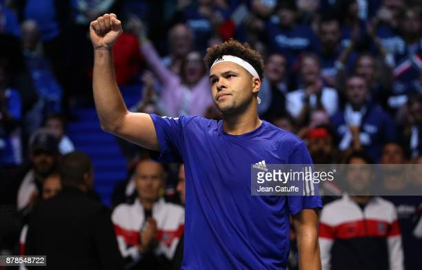JoWilfried Tsonga of France celebrates his victory against Steve Darcis of Belgium during day 1 of the Davis Cup World Group Final between France and...