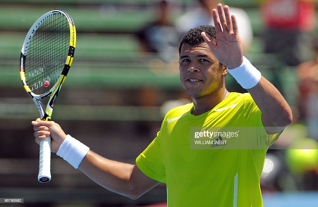 JoWilfried Tsonga of France celebrates his victory over Tommy Haas of Germany at the Kooyong Classic tennis tournament in Melbourne on January 15...