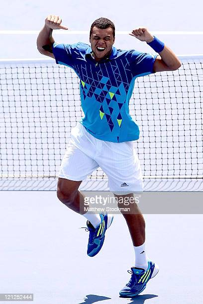 JoWilfried Tsonga of France celebrates his win over Marin Cilic of Croatia during the Western Southern Open at the Lindner Family Tennis Center on...